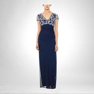 Betsy & Adam Blue Cap-Sleeve Lace-Top Gown, 10